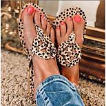 economico -Per donna Pantofole e infradito Piatto Punta tonda PU Leopardata Nero / beige