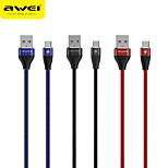 economico -AWEI Micro USB Cavi Intrecciato Trasmissione dati Caricatore del telefono 2.4 A 2.0m (6,5 piedi) PVC Nylon Per Xiaomi Huawei Appendini per cellulare