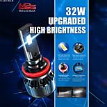 abordables -Automatique LED Lampe Frontale H4 / H11 / 9005 Ampoules électriques 6000 lm 32 W Pour Universel Toutes les Années 2 pièces