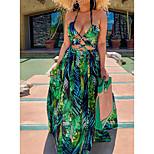 economico -Per donna Vestito svasato Vestito maxi Verde Beige Senza maniche Con stampe Con stampe Estate All'americana Sensuale 2021 S M L XL