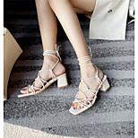 abordables -Femme Sandales Chaussures romaines Talon Bottier Bout carré Polyuréthane Matière synthétique Blanche Noir Beige