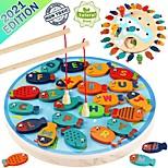 abordables -jouet de jeu de pêche en bois magnétique pour les tout-petits - alphabet capture de poissons comptage jeux de société préscolaire jouets pour 3 4 5 ans fille garçon enfants anniversaire apprentissage