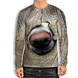 abordables -Homme T-Shirts T-shirt Impression 3D Chien Imprimés Photos Animal Imprimé Manches Longues Quotidien Hauts basique Simple Gris Foncé