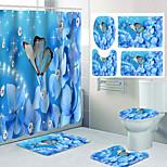 economico -diamante fiore farfalla modello stampa bagno doccia tenda per il tempo libero toilette set di quattro pezzi