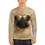 abordables -Homme T-Shirts T-shirt Impression 3D Chien Imprimés Photos Animal Imprimé Manches Longues Quotidien Hauts Simple Designer Grand et grand Jaune