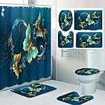 economico -set da quattro pezzi per toilette per il tempo libero con motivo a farfalla