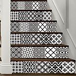 abordables -Creative 3d escalier autocollants noir et blanc simple style européen décoration de carreaux autocollants pour la maison autocollants muraux imperméables