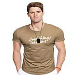 abordables -Homme T-shirt Couleur Pleine Lettre Imprimé Manches Courtes Quotidien Hauts Coton Entreprise basique Noir Kaki
