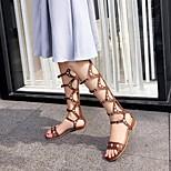 abordables -Femme Sandales Bohème Chaussures romaines Talon Bottier Bout rond Polyuréthane Matière synthétique Noir Marron
