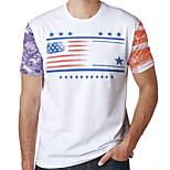 abordables -Homme T-Shirts T-shirt Impression 3D Imprimés Photos Drapeau Imprimé Manches Courtes Quotidien Hauts Simple Designer Grand et grand Blanche