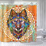 economico -totem testa di lupo rotondo stampa digitale tenda da doccia tende da doccia ganci moderno poliestere nuovo design