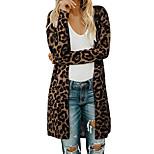 economico -Per donna Lavorato a maglia Monocolore Cardigan Manica lunga Maglioni cardigan A cappuccio Autunno Inverno Nero Vino Marrone