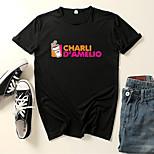 abordables -Inspiré par Cosplay Charli D'Amelio Microfibre Costume de Cosplay Manches Ajustées Imprimé Imprimés Photos Tee-shirt Pour Homme / Femme