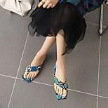 abordables -Femme Sandales Bohème Talon Bottier Bout carré Polyuréthane Matière synthétique Blanche Jaune Bleu