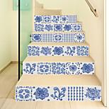 abordables -Creative 3d escalier autocollant bleu et blanc porcelaine style décoration maison autocollant étanche autocollant mural en trois dimensions