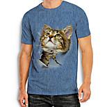 abordables -Homme T-Shirts T-shirt Autres imprimés Chat Imprimés Photos Animal Imprimé Manches Courtes Quotidien Hauts basique Simple Bleu