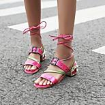abordables -Femme Sandales Bohème Chaussures romaines Talon Bottier Bout rond Polyuréthane Matière synthétique Rose Vert