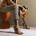 abordables -Femme Sandales Chaussures romaines Talon Bottier Bout rond Polyuréthane Matière synthétique Noir Argent Marron