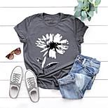 economico -Per donna maglietta Pop art Fiore decorativo Con stampe Rotonda Top Essenziale Top basic Nero Blu Rosa