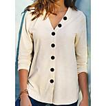 economico -Per donna Lavorato a maglia Tinta unica Cardigan Manica a 3/4 Maglioni cardigan A V Autunno Inverno Nero Viola Rosa
