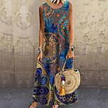 economico -Per donna Vestito a trapezio Vestito maxi Blu Senza maniche Con stampe Con stampe Primavera Estate Rotonda Casuale 2021 S M L XL XXL