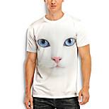 abordables -Homme T-Shirts T-shirt Impression 3D Chat Imprimés Photos Animal Imprimé Manches Courtes Quotidien Hauts basique Simple Blanche