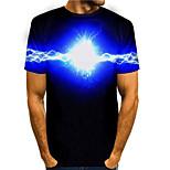 abordables -Homme T-shirt Impression 3D Graphique 3D 3D Imprimé Manches Courtes Quotidien Hauts basique Simple Noir