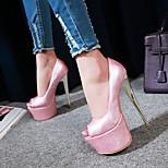 abordables -Femme Chaussures à Talons Talon Aiguille Bout ouvert Polyuréthane Matière synthétique Blanche Bleu Rose