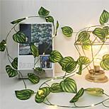 abordables -2 m soie artificielle feuille de lierre vigne LED guirlande lumineuse pour la maison de mariage fête de Noël guirlande suspendue chaîne de vacances flexible AA puissance de la batterie éclairage blanc chaud