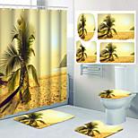 economico -set da quattro pezzi per toilette per il tempo libero tenda da doccia per bagno con albero di cocco da spiaggia soleggiata