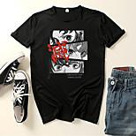 abordables -Inspiré par Tueur de démons: Kimetsu no Yaiba Kamado Tanjirou Costume de Cosplay Manches Ajustées Microfibre Imprimés Photos Imprimé Tee-shirt Pour Homme / Femme