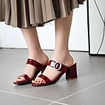 economico -Per donna Sandali Quadrato Punta tonda PU Sintetico Bianco Nero Rosso