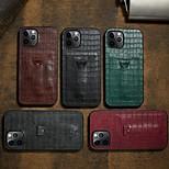 abordables -téléphone Coque Pour Apple Coque Arriere iPhone 12 Pro Max 11 SE 2020 X XR XS Max 8 7 Porte Carte Antichoc Avec Support Impressions de peau de crocodile Couleur Pleine faux cuir TPU