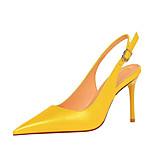 abordables -Femme Chaussures à Talons Talon Aiguille Bout pointu Cuir Verni Boucle Couleur Pleine Blanche Noir Jaune