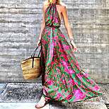 economico -Per donna Vestito svasato Vestito maxi Rosso Senza maniche Fantasia floreale Nappa Con stampe Primavera Estate All'americana Sensuale Boho 2021 S M L XL