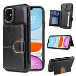 abordables -téléphone Coque Pour Apple Coque Arriere iPhone 12 Pro Max 11 SE 2020 X XR XS Max 8 7 6 Porte Carte Antichoc Avec Support Couleur Pleine faux cuir TPU