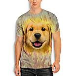 economico -Per uomo maglietta Stampa 3D Pop art Animali 3D Con stampe Manica corta Quotidiano Top Essenziale Casuale Marrone