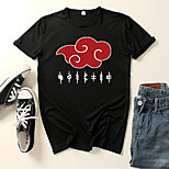 abordables -Inspiré par Naruto Akatsuki Costume de Cosplay Manches Ajustées Microfibre Imprimés Photos Imprimé Tee-shirt Pour Homme / Femme