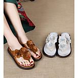 economico -Per donna Pantofole e infradito Di pelle Floreale Tinta unita Marrone scuro Beige