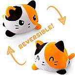 abordables -peluche réversible chat en peluche humeur d'animal en peluche double face flip blanc et noir montrez votre humeur sans dire un mot
