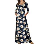 economico -Per donna Tubino Vestito maxi Nero Giallo Manica lunga Fantasia floreale Monocolore Con stampe Autunno Primavera Rotonda Casuale 2021 S M L XL XXL 3XL