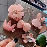 abordables -5 pièces Enfants / Bébé Fille Doux Usage quotidien Papillon / Lapin Fruit / Animal Noeud Polyester Accessoires Cheveux Jaune / Rose Claire / Gris Taille unique