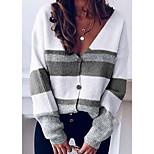 economico -Per donna Monocolore Cardigan Cotone Manica lunga Maglioni cardigan A V Autunno Inverno Blu Viola Cachi