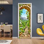 abordables -3D 2 pièces auto-adhésif créatif porte autocollants salon chambre bricolage décoratif maison étanche stickers muraux 77x200 cm