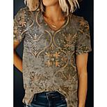 economico -Per donna maglietta Pop art Con stampe A V Top Essenziale Top basic Cachi