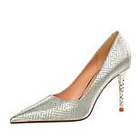 abordables -Femme Chaussures à Talons Talon Aiguille Bout pointu Polyuréthane Paillette Couleur Pleine Noir Champagne Dorée