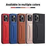 abordables -téléphone Coque Pour Apple Coque Intégrale iPhone 12 Pro Max 11 SE 2020 X XR XS Max 8 7 6 Porte Carte Antichoc Magnétique Couleur Pleine faux cuir TPU