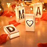 economico -2m Fili luminosi 10 LED 1 pc Bianco caldo San Valentino Natale Creativo Feste Decorativo Batterie AA alimentate