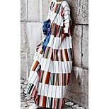 economico -Per donna Tubino Vestito maxi Bianco Manica lunga A strisce Tinta unica Con stampe Primavera Estate Rotonda Casuale 2021 S M L XL XXL 3XL
