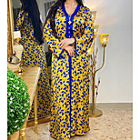 economico -Per donna Vestito a caftano Vestito maxi Oro Manica lunga Tinta unica Collage Con stampe Estate Rotonda Casuale 2021 S M L XL XXL